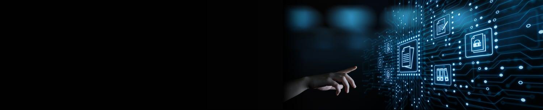 Banner: Hand touching virtual circuitry