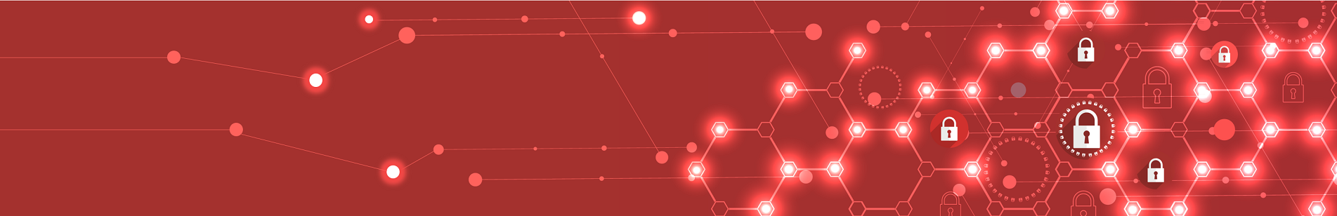 Banner: Security lock icons in interconnected hexagons