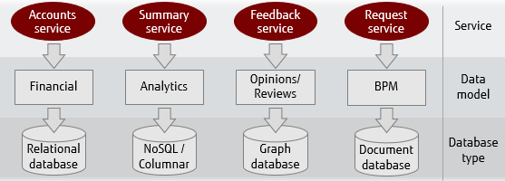 Illustration showing example of polyglot data persistence using RDBMS, NoSQL/Columnar, Graph database and Document database